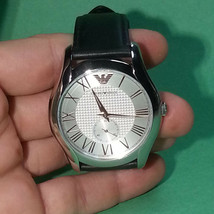 Emporio Armani Wrist Dress Men Watch AR1984 Round Silver Color Analog Japan NWT - £110.75 GBP