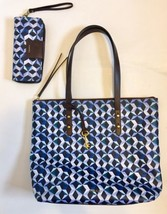 Fossil Key Large Tote Bag And Wallet Blue Geometric School Career Shape - $56.10