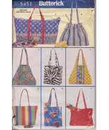 Totes Shopping Carry All Bags Butterick 5451 Pattern 8 Lined Bags Different - $9.00