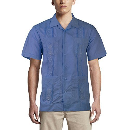 Alberto Cardinali Men's Guayabera Short Sleeve Cuban Casual Dress Shirt (L, Fren