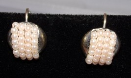 Napier Faux Pearl Clip On Earrings Signed Jewelry - $18.29