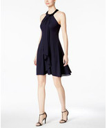 Calvin Klein Women's Beaded Halter Ruffled Chiffon Dress (14, Indigo) - $42.57