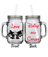 Personalized Disney Minnie & Mickey Tail Mouse Couple 16oz Glass Mason J... - $16.99