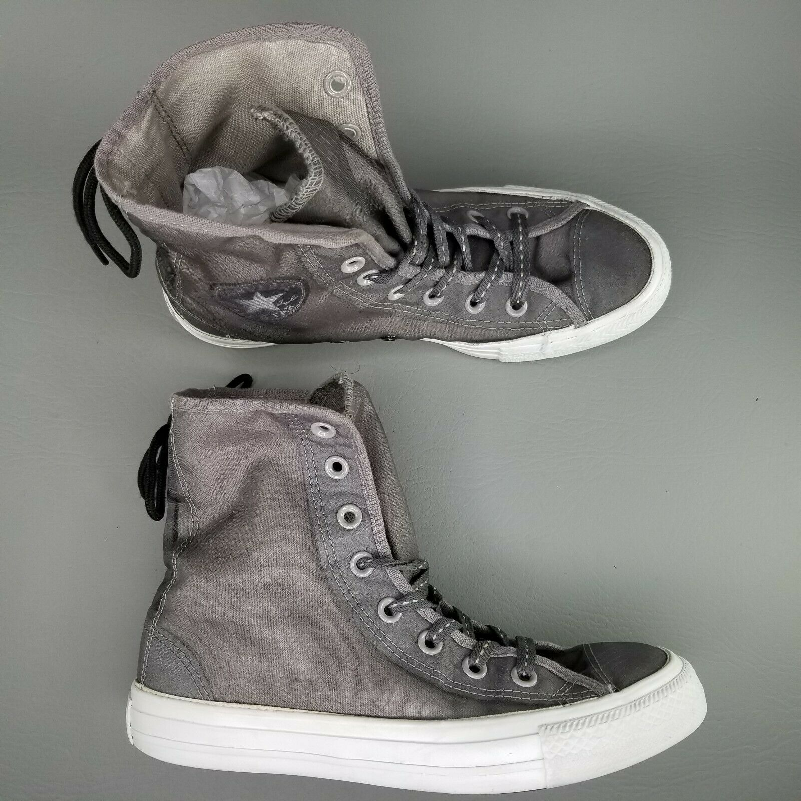Converse CTAS Back Lace Hi Top Shoes Womens SZ 8 See Through Chucks Gray White image 2
