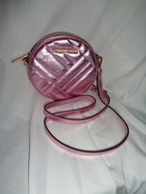 MICHAEL KORS VIVIANNE CANTEEN CROSSBODY METALLIC PINK LEATHER ROUND HAND... - $98.01