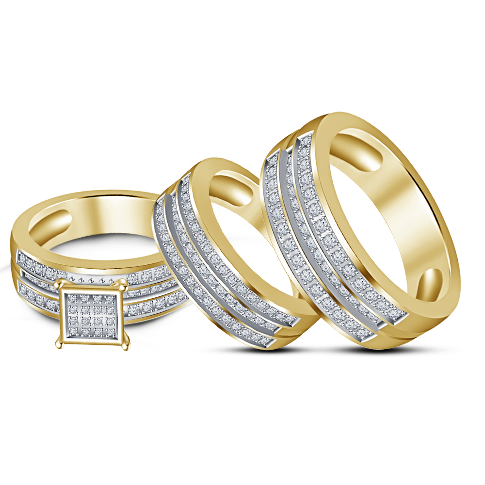 14K Yellow Gold Finish 925 Silver Round Cut Sim Diamond Engagement Trio Ring Set