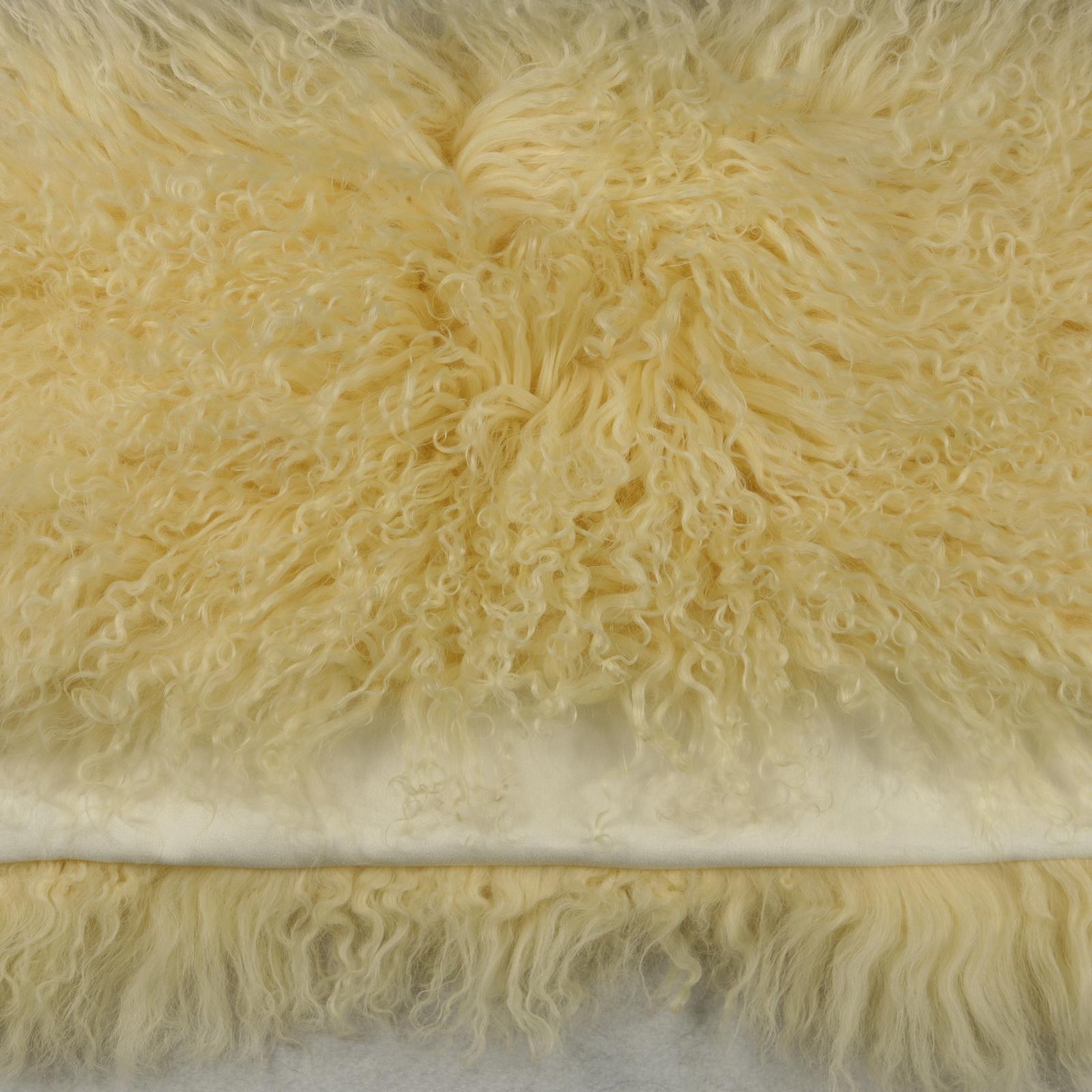 50x50cm Real Golden Beige Mongolian Tibetan Lamb Fur Wool Pillow Cushion Cover