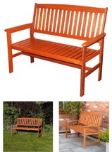 Classic Wooden Garden Bench Armrests Sturdy Patio Deck Seater Outdoor Ha... - $141.03+