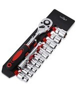 12pcs Ratchet Handle Wrench Socket Set Alloy So... - $461,31 MXN