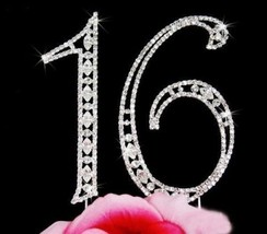 Birthday Cake Topper Number 16 Vintage Crystal 16th Birthday Cake Topper - $14.26