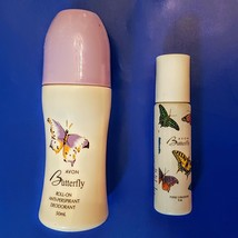Avon Butterfly Cologne LOT Purse Size .3 oz Perfume Rollette + Roll On Deodorant - $23.76