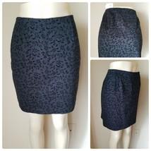 Ann Taylor Women's Black Textured Floral Stretch Cotton Knit Mini Skirt 6 - $13.49
