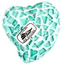 Concrete & Crushed Teal Mosaic Glass Heart Shaped Ornament Handmade in Mexico image 2