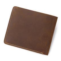 Famous Genuine Leather Wallets Crazy Horse Leather Men Wallets Bifold Vintage  - $19.62