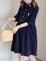 Maternity Dress Solid Color Long Sleeve Turn Down Collar Fashion Shirt Dress image 4
