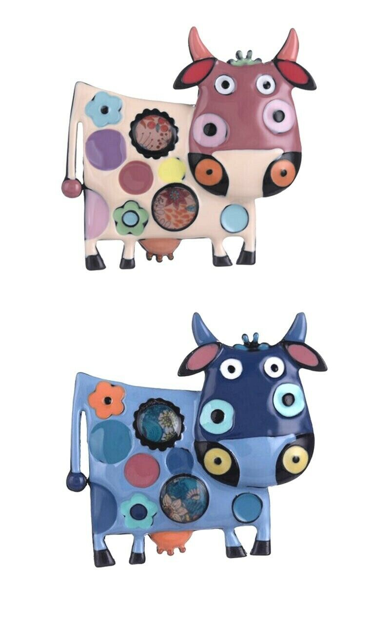 Primary image for Cute Backpack Enameled Brooch Cow Pin C Clasp Animal Jewelry, Vegan jewelry