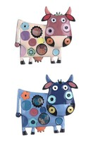 Cute Backpack Enameled Brooch Cow Pin C Clasp Animal Jewelry, Vegan jewelry - $11.73