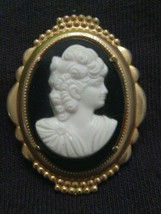 Vintage Cameo Pin Lady Woman Victorian Black White Silhouette Beautiful - $14.84