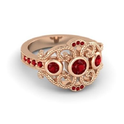14k Rose Gold Plated 925 Silver Red Garnet Disney Princess Mulan Ring Free Shipp