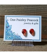 Barbie Stud Earrings Handmade Plastic Post Vintage Inspired 60's Red Head - $5.82