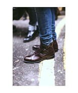 Handmade Men Casual Triple Monk Leather Casual Ankle High Boots, Men ank... - $179.99