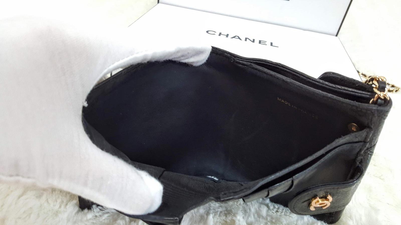 Auth Chanel Diamond Stitch Gold CC Caviar 2 in 1 Wallet Mini WOC Crossbody Bag image 7