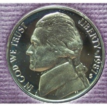 1987-S DCAM Proof Jefferson Nickel PF65 #0420 - $2.39