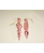 2 Christmas Ornament Finial Tear Drop Triple Sphere Icicles Pink Iridesc... - $9.99
