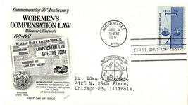 September 4, 1961 First Day of Issue, Fleetwood Cover, Workmen's Compens... - $1.09