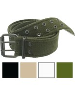 Military Double Prong Canvas Belt, Heavy Duty Army Pistol Grommet Two Ho... - $10.99+