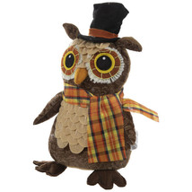 """Whimsical Owl Wearing Black Top Hat With Plaid Scarf Shelf Sitter 10.5"""" - $10.50"""