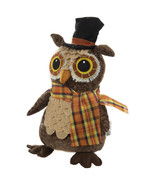 "Whimsical Owl Wearing Black Top Hat With Plaid Scarf Shelf Sitter 10.5"" - $10.50"