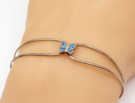 925 Sterling Silver - Vintage Petite Turquoise Butterfly Cuff Bracelet -... - $23.38