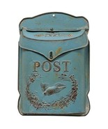 Vintage style Rustic turquoise Blue Post Mail Box Wall hanging - $49.49