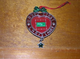 Red & Green Enamel Pewter Heart Baby's First Picture Frame Holiday Chris... - $7.69