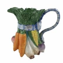 Fitz & Floyd Classic Vegetable Garden Ceramic Pitcher Blue Plaid Bow 1-1/4 Qt - $41.76