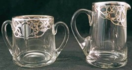 Heavy Sterling Silver Overlay Glass Creamer & Sugar Bowl Art Nouveau Design - $19.99