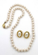 Vintage Marvella Faux Pearl Hand Knotted Necklace Pierced Earrings Demi Set - $9.89