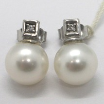 White gold earrings 750 18k, 9mm pearls, diamond and cubes, fresh water - $535.17