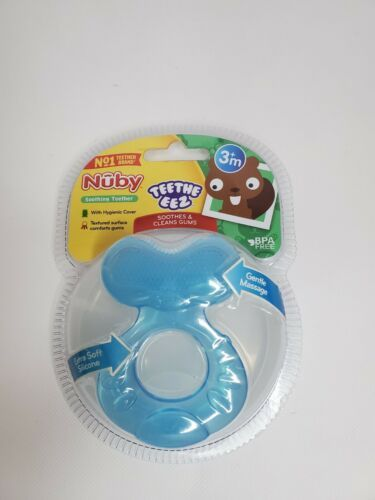 Primary image for Nuby Teethe-Eez Soft Silicone Teether, 3m+ Blue New Sealed