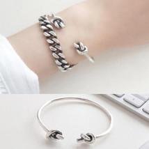 925 sterling silver bangles women Double Knot Bracelets Vintage Simplici... - $19.19+