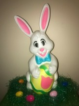 "Vintage 27"" Sun Hill White Easter Bunny Lighted Blow Mold Decoration - $98.99"