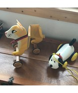 Estate Lot of 2 Plastic White Dog & Large Painted Yellow Wood Kitty Cat ... - $13.99