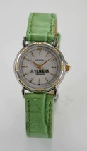 Fossil Watch Womens YAMAHA Outboards Green Leather Stainless Silver Gold Quartz - $38.16