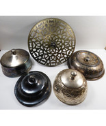 VTG LOT OF 5 ANTIQUE SILVERPLATE LID COLLECTION POTS BUTTER DISH COVERS ... - $59.40