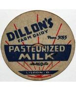 Vintage milk bottle cap DILLONS FARM DAIRY Lisbon Ohio unused new old stock - $9.99