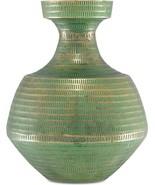 NALLAN Vase CURREY & COMPANY Large Green Antique Brass - $349.00