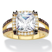 2.68 TCW White and Brown CZ 14k Gold and Black Ruthenium over Silver Hal... - $31.99