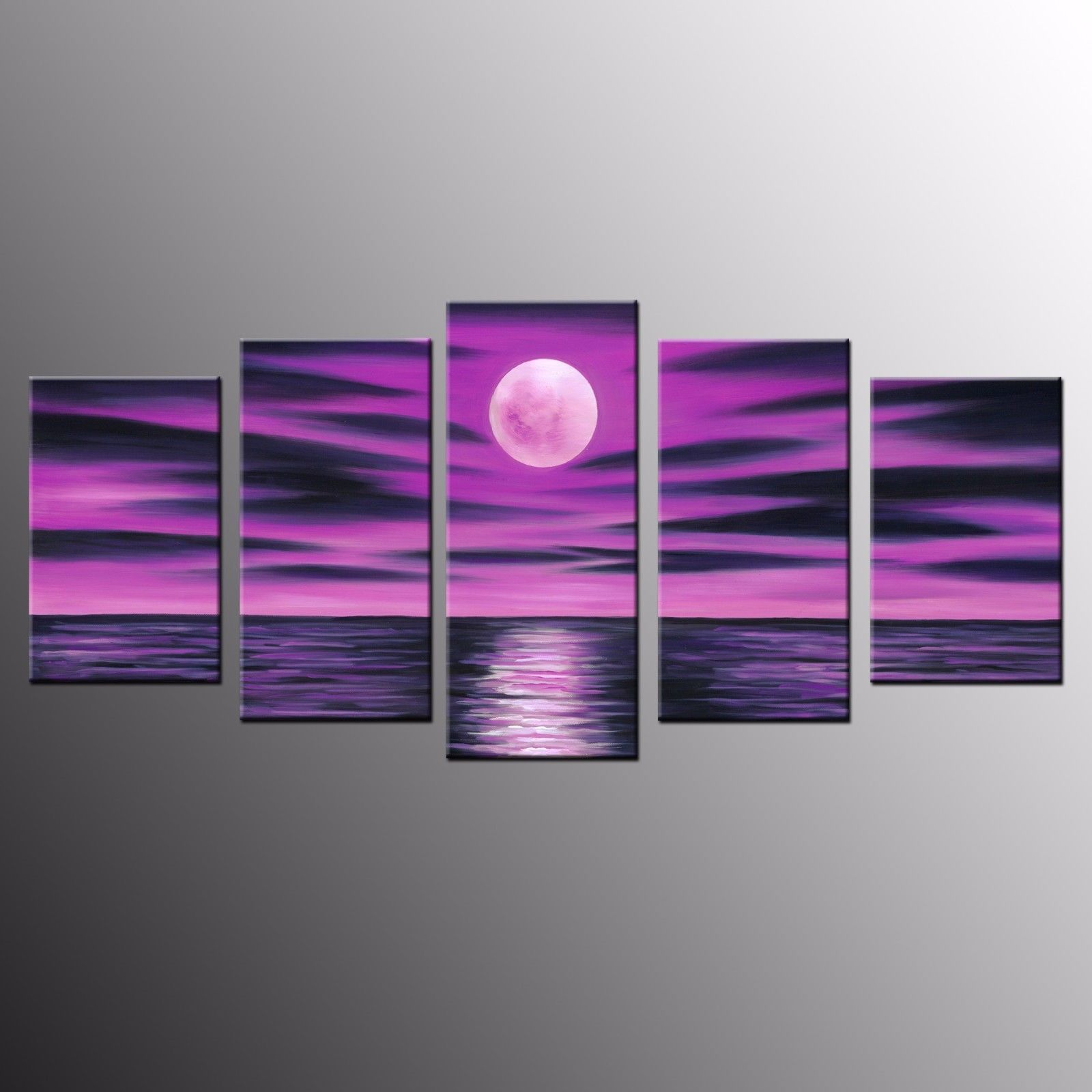 Framed 5 Panel Purple Moon Oil Canvas Print Painting Wall