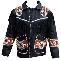 Men's New Handmade Native American Black Western Leather Fringe Jacket Q... - $157.88+